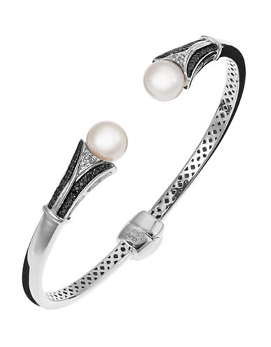 Fine Jewellery Freshwater Pearl and Diamond Bangle-PEARL-One Size