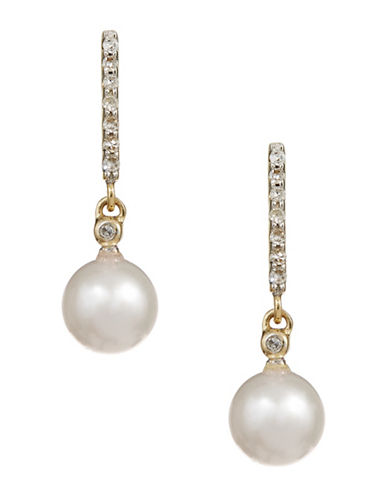 Fine Jewellery 10K White Gold Pearl and Diamond Earrings-PEARL-One Size