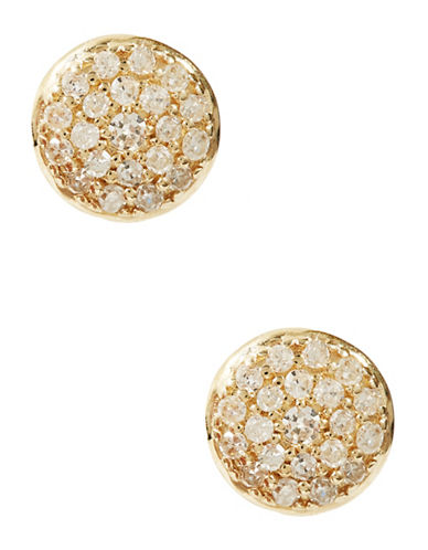 Fine Jewellery 14K Yellow Gold Pave Round Diamond Earrings-DIAMOND-One Size