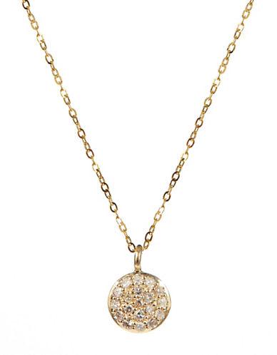 Fine Jewellery 14K Yellow Gold Necklace with Round Pave Diamond Pendant-DIAMOND-One Size