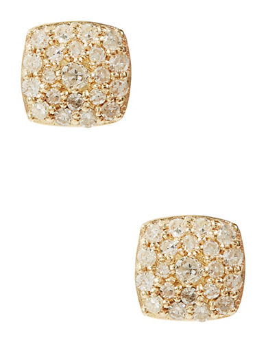 Fine Jewellery 14K Yellow Gold Pave Diamond Square Earrings-DIAMOND-One Size