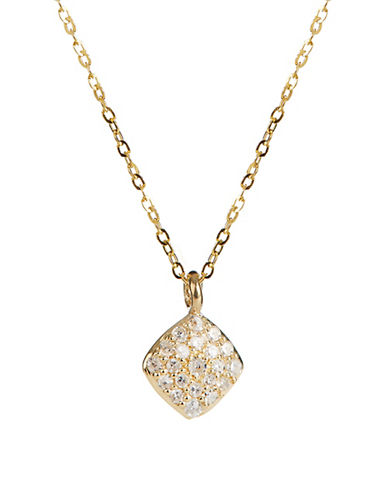 Fine Jewellery 14K Yellow Gold Necklace with Square Pave Diamond Pendant-DIAMOND-One Size