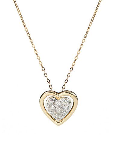 Fine Jewellery 14K Yellow Gold Necklace with Pave Diamond Heart Pendant-DIAMOND-One Size