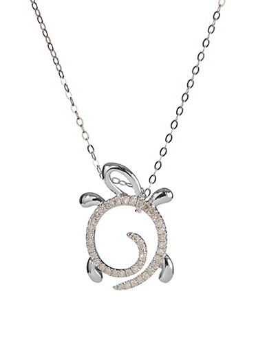 Fine Jewellery 14K White Gold Necklace with Spiral Turtle Pendant-DIAMOND-One Size