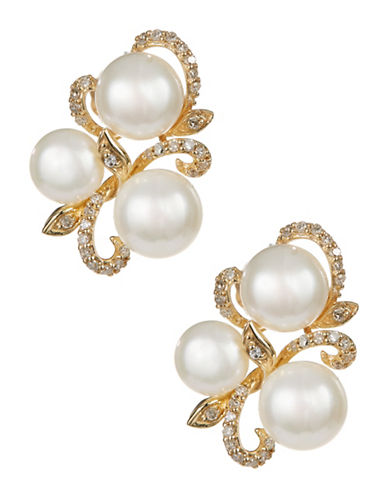 Fine Jewellery 10K Yellow Gold Pearl and Diamond Earrings-PEARL-One Size