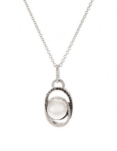 Fine Jewellery Sterling Silver Pearl Pendant Necklace with White and Black Diamonds-SILVER-One Size