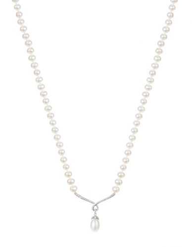 Fine Jewellery Sterling Silver Pearl Drop Necklace-PEARL-One Size