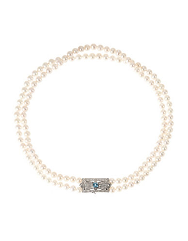 Fine Jewellery Double Strand Pearl Necklace with Crystal Cluster-PEARL-One Size