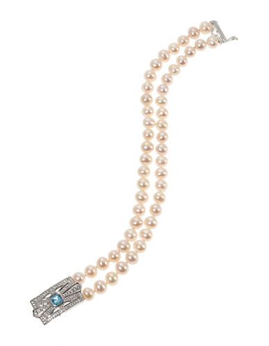Fine Jewellery Sterling Silver Embellished Box Clasp Pearl Bracelet-PEARL-One Size