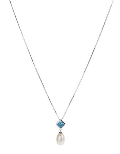 Fine Jewellery Sterling Silver Drop Pearl Pendant Necklace-PEARL-One Size