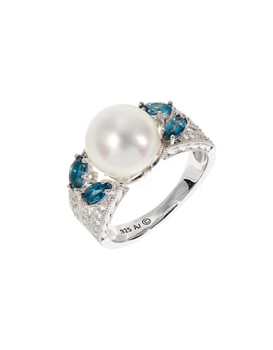 Fine Jewellery Sterling Silver 10mm Pearl Pave Ring-PEARL-7