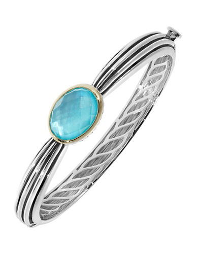 Fine Jewellery Blue Quartz and Mother of Pearl Doublet Two Tone Bangle-TURQUOISE-One Size