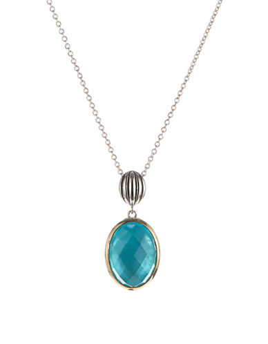 Fine Jewellery Blue Quartz and Mother of Pearl Two Tone Pendant Necklace-TURQUOISE-One Size
