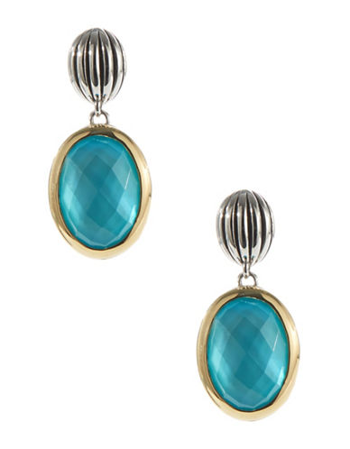 Fine Jewellery Sterling Silver and 14K Yellow Gold Drop Earrings with Oval Stone-TURQOISE-One Size 87121177_TURQOISE_One Size