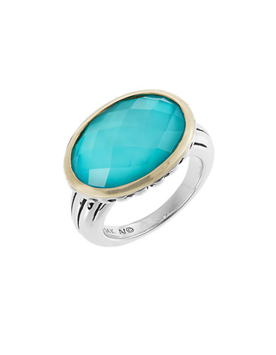 Fine Jewellery Blue Quartz and Mother of Pearl Doublet Two Tone Ring-TURQUOISE-7
