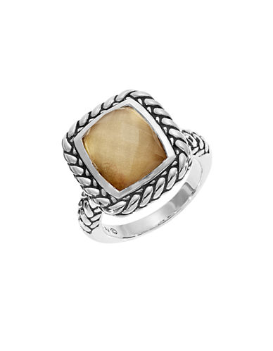Fine Jewellery Quartz Doublet Sterling Silver Ring-BROWN-7