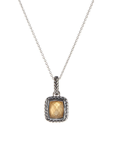 Fine Jewellery Sterling Silver and Quartz Doublet Pendant Necklace-BROWN-One Size