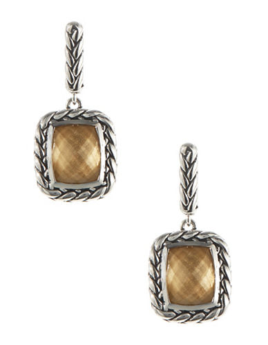 Fine Jewellery Sterling Silver Drop Earrings with Square Stone-BROWN-One Size