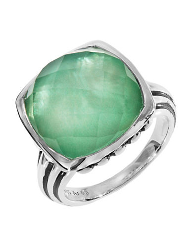 Fine Jewellery Green Quartz and Mother of Pearl Doublet Sterling Silver Ring-GREEN-7