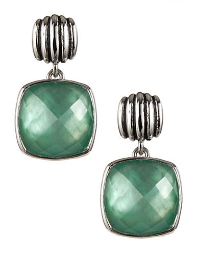 Fine Jewellery Green Quartz and Mother of Pearl Doublet Sterling Silver Drop Earrings-GREEN-One Size