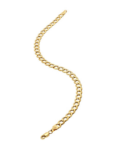 Fine Jewellery Mens 10K Yellow Gold Curb Bracelet-YELLOW GOLD-One Size