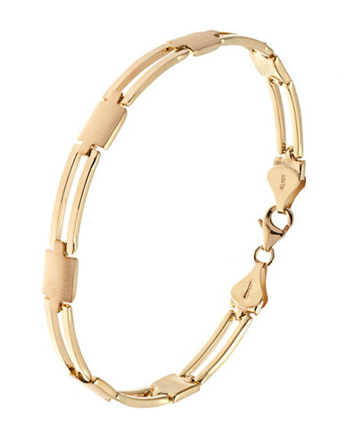 Fine Jewellery Mens 10K Yellow Gold Link Bracelet-YELLOW GOLD-One Size