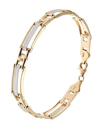 Fine Jewellery Mens 10K Gold Two Tone Flex Bracelet-YELLOW GOLD-One Size
