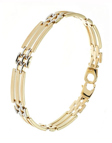 Fine Jewellery Mens 10K Yellow Gold with Rhodium Bracelet-YELLOW GOLD-One Size