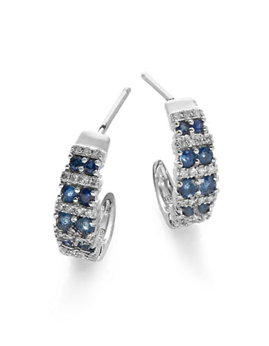 Fine Jewellery White Gold Diamond and Sapphire Earrings Box Set-BLUE-One Size