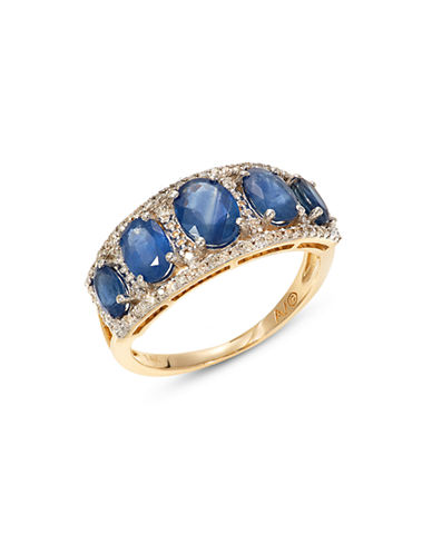 Fine Jewellery Yellow Gold Diamond and Sapphire Ring Box Set-BLUE-7