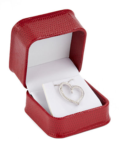 Fine Jewellery Sterling Silver And 0.125tcw Diamond Double Heart Pendant Box Set-DIAMOND-One Size