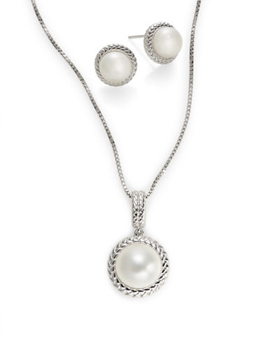 Fine Jewellery 7-10mm White Round Pearl Earrings and Necklace Box Set-PEARL-One Size