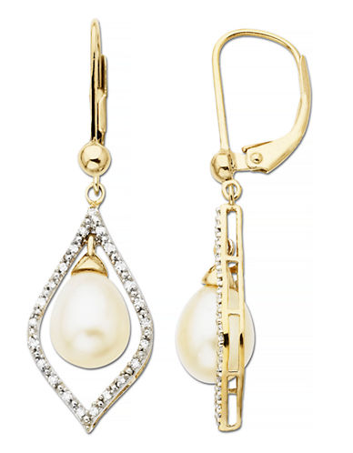 Fine Jewellery Pearl and 0.13 tcw Diamond 10k Yellow Gold Drop Earrings-PEARL-One Size