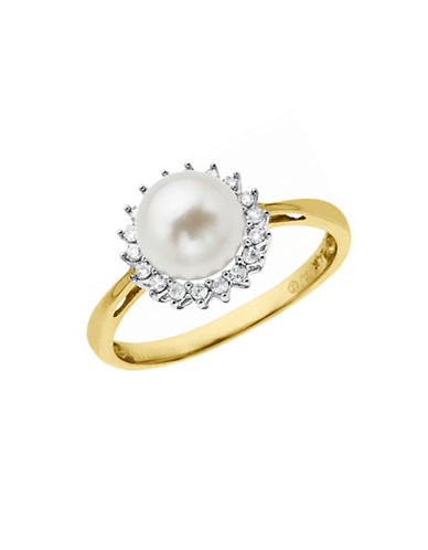 Fine Jewellery 7mm Pearl and 0.126 tcw Diamond 10k Yellow Gold Ring-PEARL-7