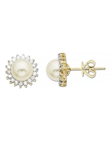 Fine Jewellery Pearl and Diamond 10k Yellow Gold Stud Earrings-PEARL-One Size