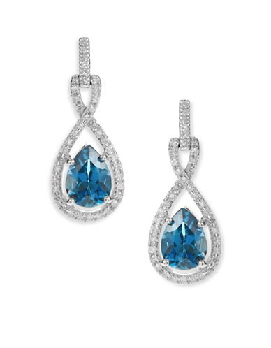 Fine Jewellery 10K White Gold Blue Topaz Diamond Earrings-BLUE-One Size