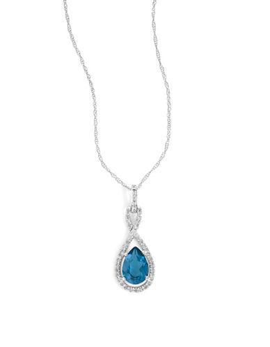 Fine Jewellery 14k White Gold Teardrop Topaz and Diamond Necklace-BLUE-One Size