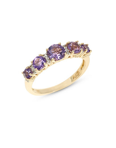 Fine Jewellery 14k Yellow Gold Graduated Amethyst and Diamond Ring-PURPLE-7