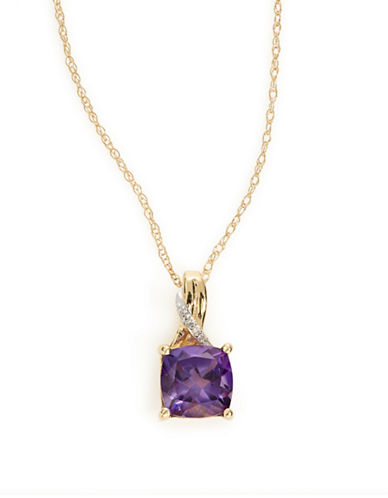 Fine Jewellery 14k Yellow Gold Square Amethyst and Diamond Necklace-PURPLE-One Size