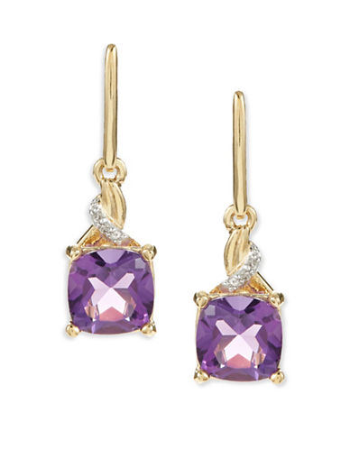 Fine Jewellery 14K Yellow Gold Amethyst Diamond Drop Earrings-PURPLE-One Size