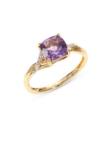 Fine Jewellery 14k Yellow Gold Square Amethyst and Diamond Ring-PURPLE-7