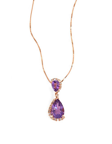 Fine Jewellery 14k Rose Gold Double Amethyst and Diamond Necklace-PURPLE-One Size