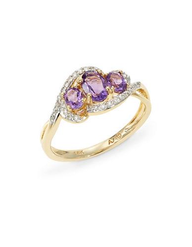 Fine Jewellery 14k Yellow Gold Triple Amethyst and Diamond Ring-PURPLE-7