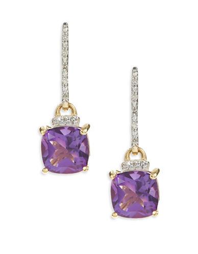 Fine Jewellery 14K Yellow Gold Amethyst Diamond Bar Earrings-PURPLE-One Size