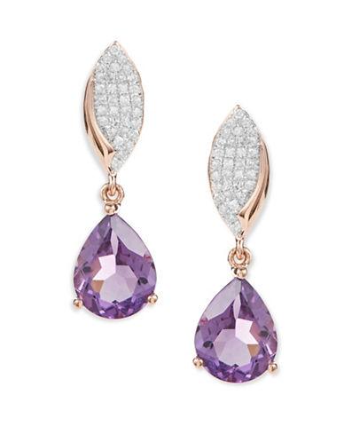 Fine Jewellery 14K Rose Gold Amethyst Diamond Earrings-PURPLE-One Size