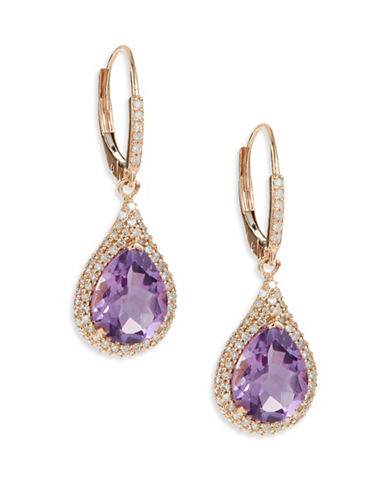 Fine Jewellery 14K Pink Gold Amethyst Diamond Earrings-PURPLE-One Size