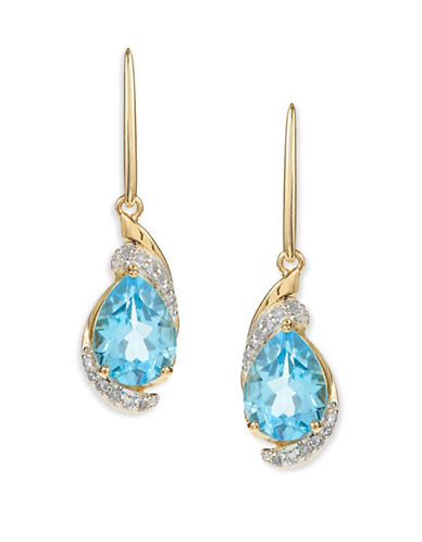 Fine Jewellery 14K Yellow Gold Blue Topaz Diamond Earrings-BLUE-One Size