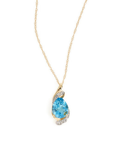 Fine Jewellery 14k Yellow Gold Topaz and Diamond Necklace-BLUE-One Size