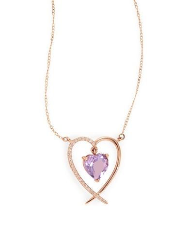 Fine Jewellery 14k Rose Gold Amethyst and Diamond Heart Necklace-PURPLE-One Size