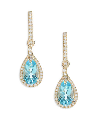 Fine Jewellery 14K Yellow Gold Blue Topaz Diamond Teardrop Earrings-BLUE-One Size